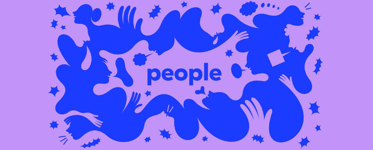 Blue design on a purple background, hands, shapes and the word PEOPLE in the center.