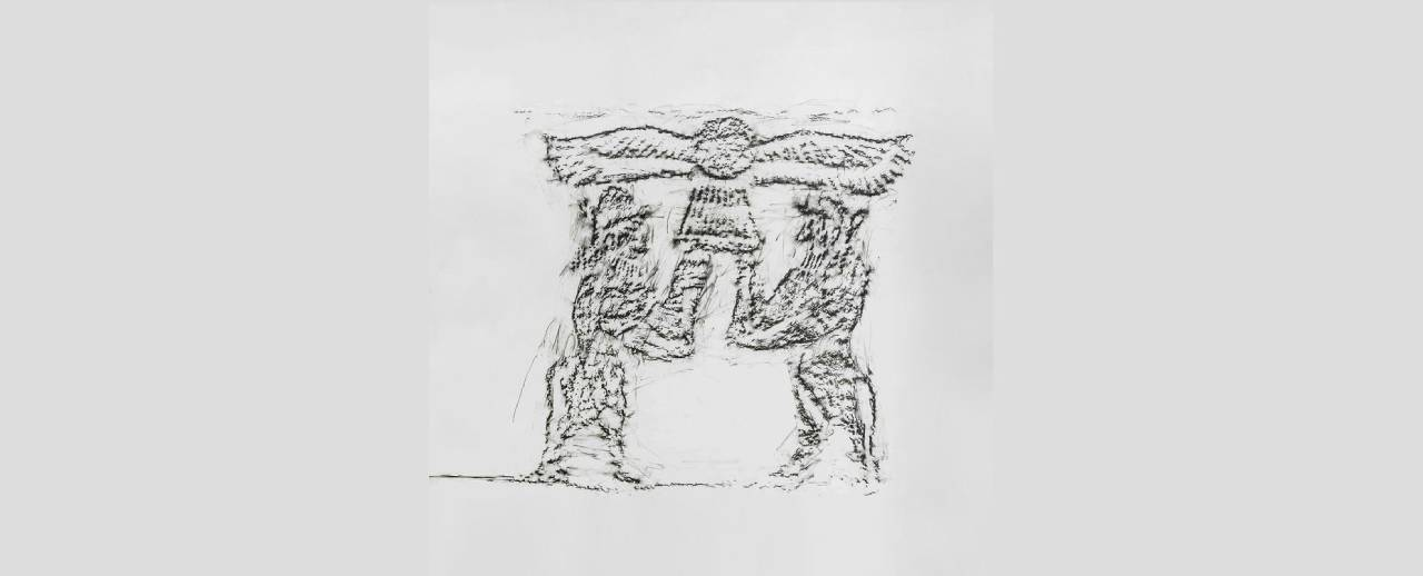 Charcoal rubbing on paper, stone reliefs excavated in the early twentieth century at Tell Halaf, Syria
