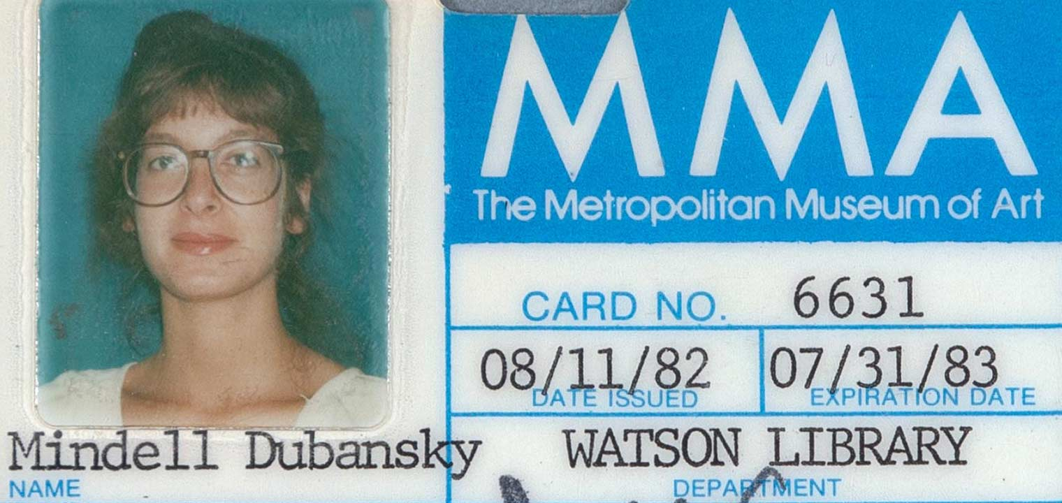 Photograph of Mindell Dubansky's Watson Library ID card from 1982