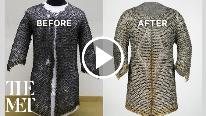 Video preview image of islamic iron mail armor before and after conservation