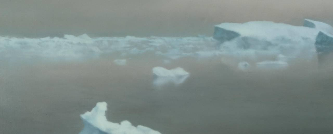 Image of Gerhard Richter's oil painting titled Ice, depicting pale blue icebergs floating against grey water and grey sky