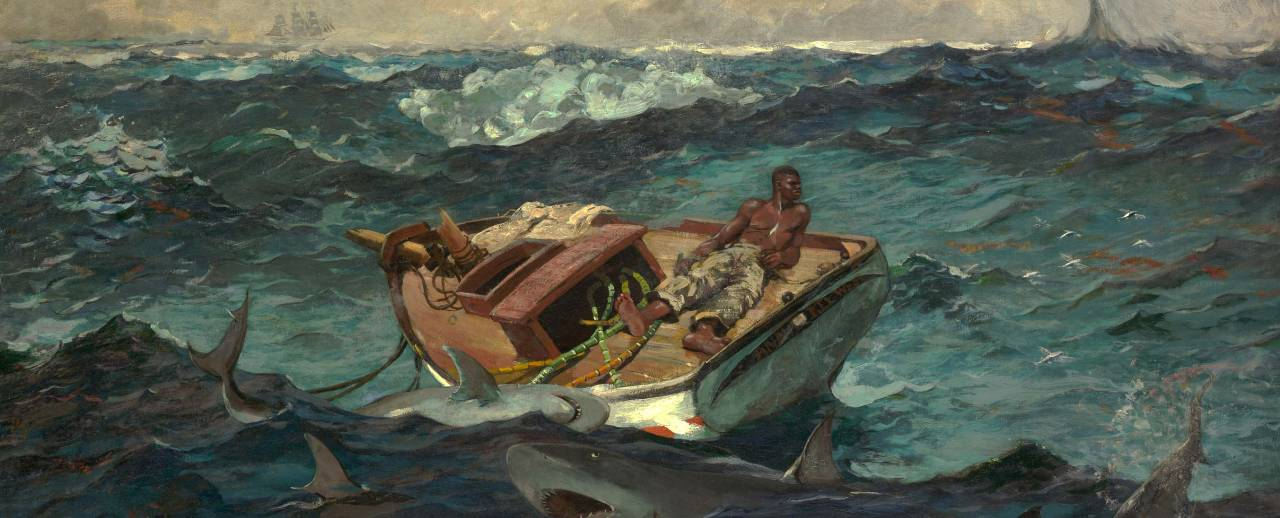 Image of the oil painting, The Gulf Stream, by Winslow Homer. A man faces his demise on a dismasted, rudderless fishing boat, sustained by only a few stalks of sugarcane, while threatened by sharks and a distant waterspout.