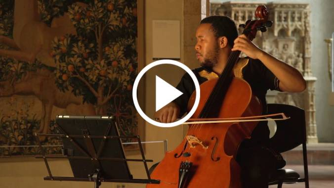 Screenshot of South African cellist Thapelo Masita at The Met Cloisters.