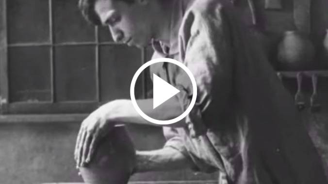 Screenshot of Robert Flaherty from the short film titled, The Pottery Maker.