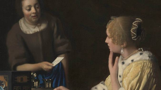Oil painting that depicts two women contemplating a newly arrived letter. The elegantly dressed mistress is dramatically lit, while the modest maid emerges from the dark background to deliver the message. The letter's inscrutable contents and the mistress' ambiguous expression evoke a sense of mystery and foreboding.