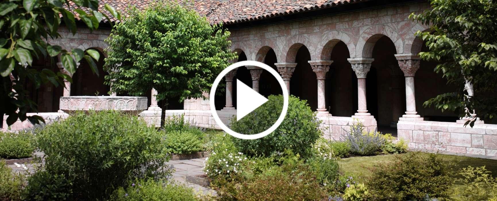 Video still: Outdoor facade of the Cuxa Cloister