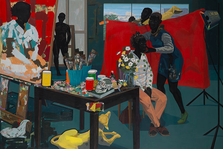 The painting Untitled(Studio) by Kerry James Marshall