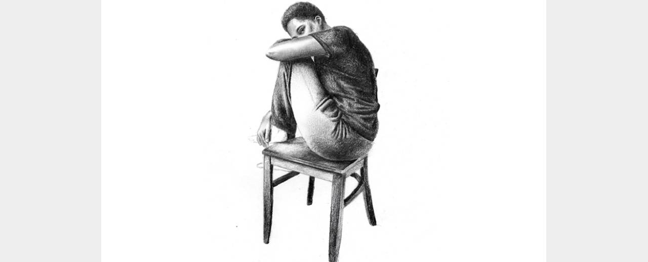 Drawing of a young woman sitting on a chair.