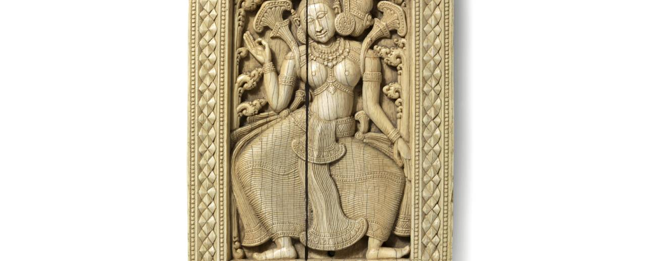 Panel depicting a temple dancer was one of a pair that decorated the doorjambs or entablature of the entrance to a Sri Lankan temple or monastery.
