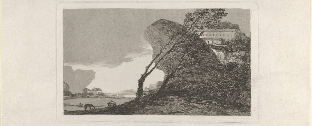 Print of 'Landscape with buildings and trees' by Spanish artist Francisco Goya.
