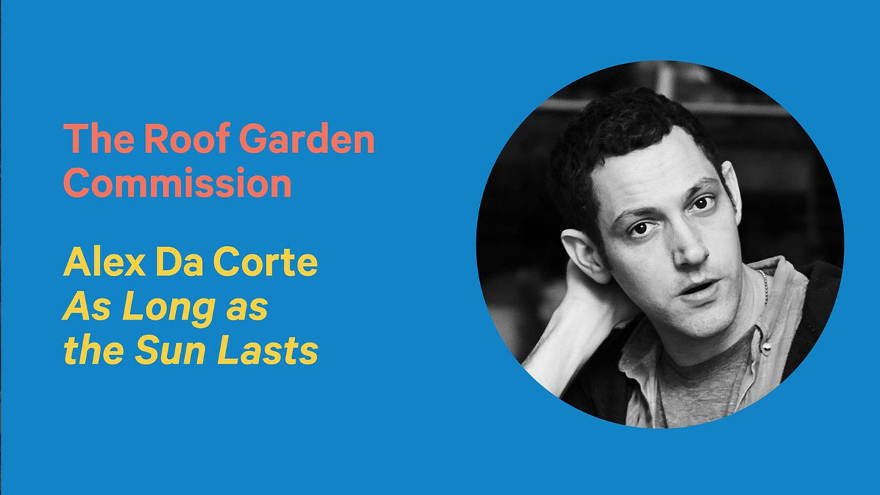 "Headshot of Alex Da Corte with overlaid text, ""The Roof Garden Commission. Alex Da Corte As Long as the Sun Lasts"""