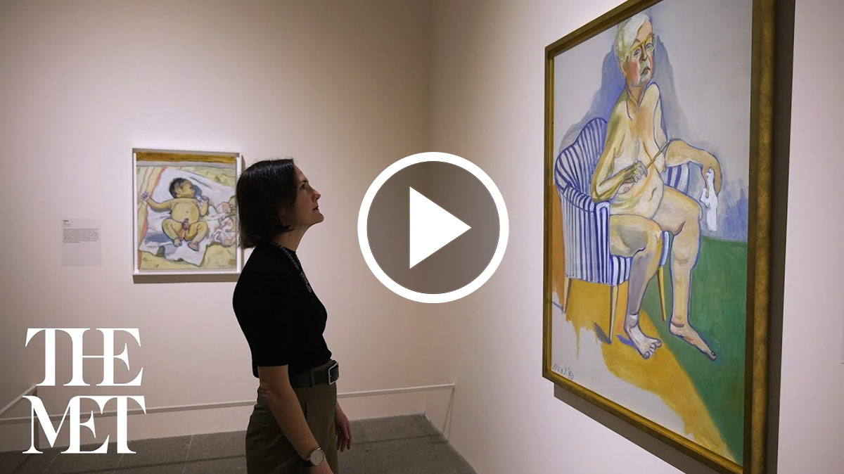 Curator Kelly Baum in the galleries looking at a painting by Alice Neel.