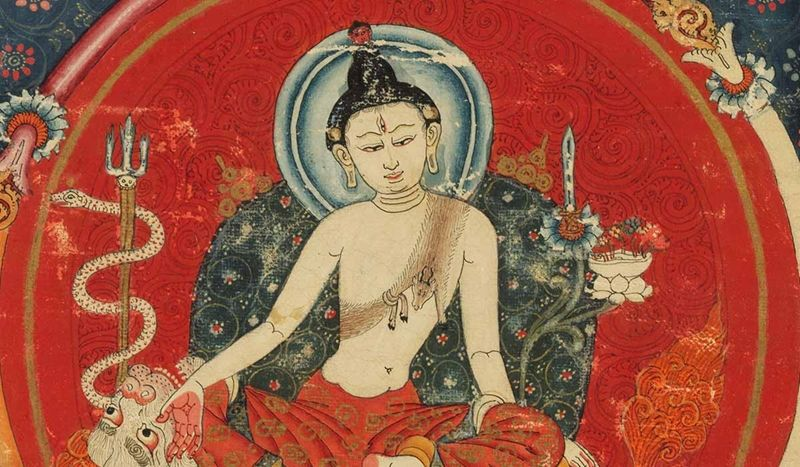 A painted depiction of the bodhisattva Manjushri against a bright red background, seated crossed legged on a cushion, from the Mandala of Manjuvajra