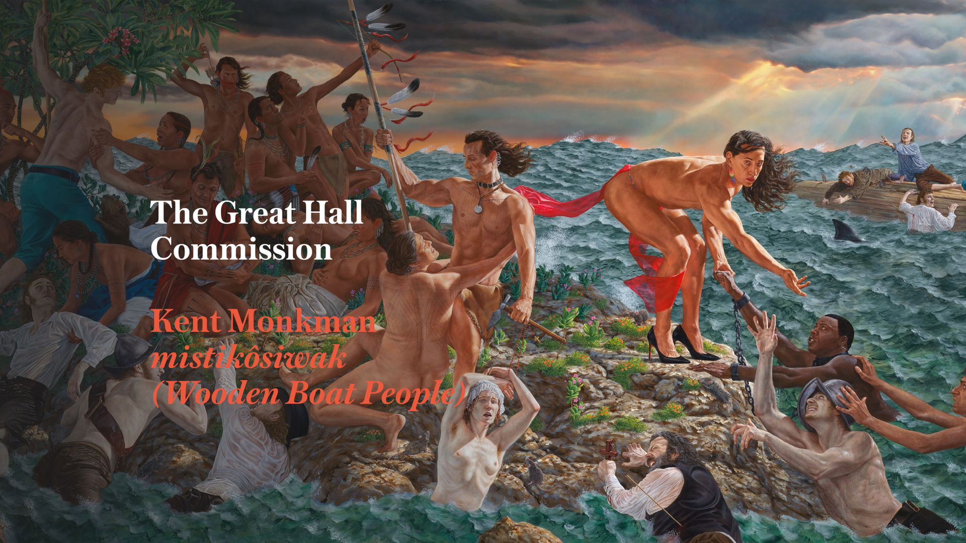 A painting of an island with Indigenous people helping shipwrecked settlers and slaves ashore