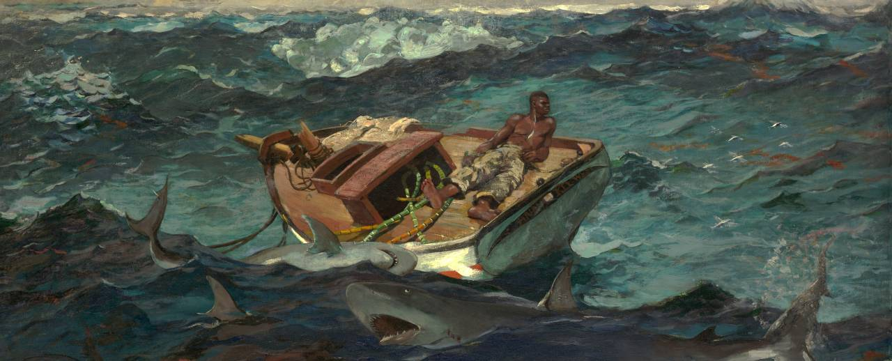 Oil on canvas, 'The Gulf Stream' by Winslow Homer. A man faces his demise on a dismasted, rudderless fishing boat, sustained by only a few stalks of sugarcane, while threatened by sharks and a distant waterspout. He is oblivious to the schooner on the left horizon.