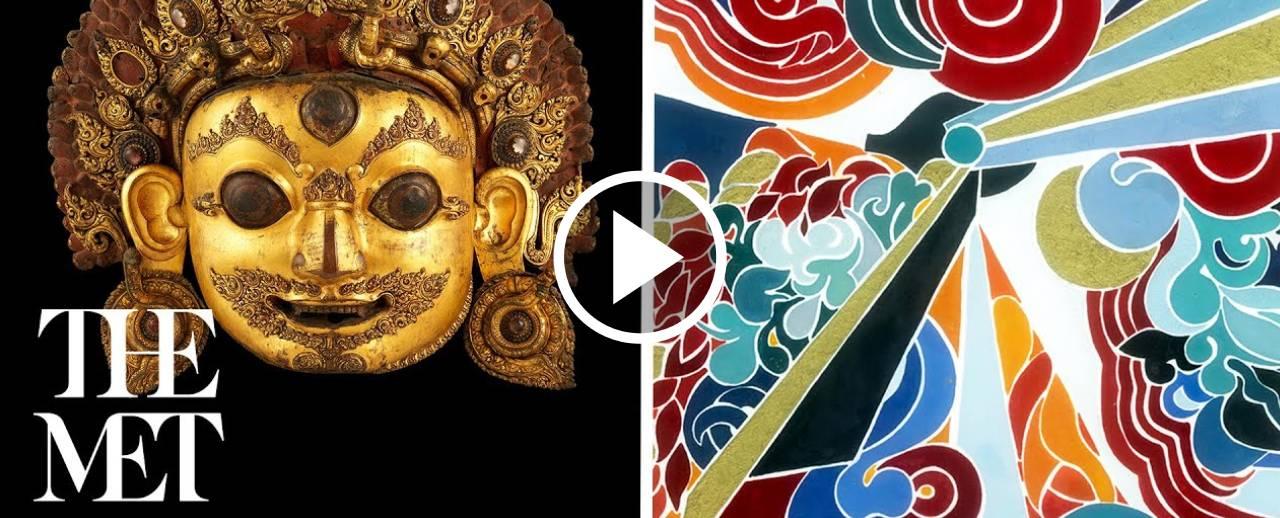 Hindu deity Shiva and an abstract drawing