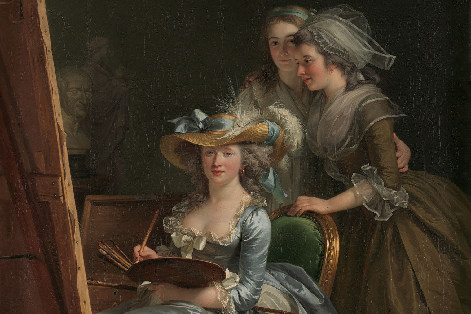 A painting of three women in a studio