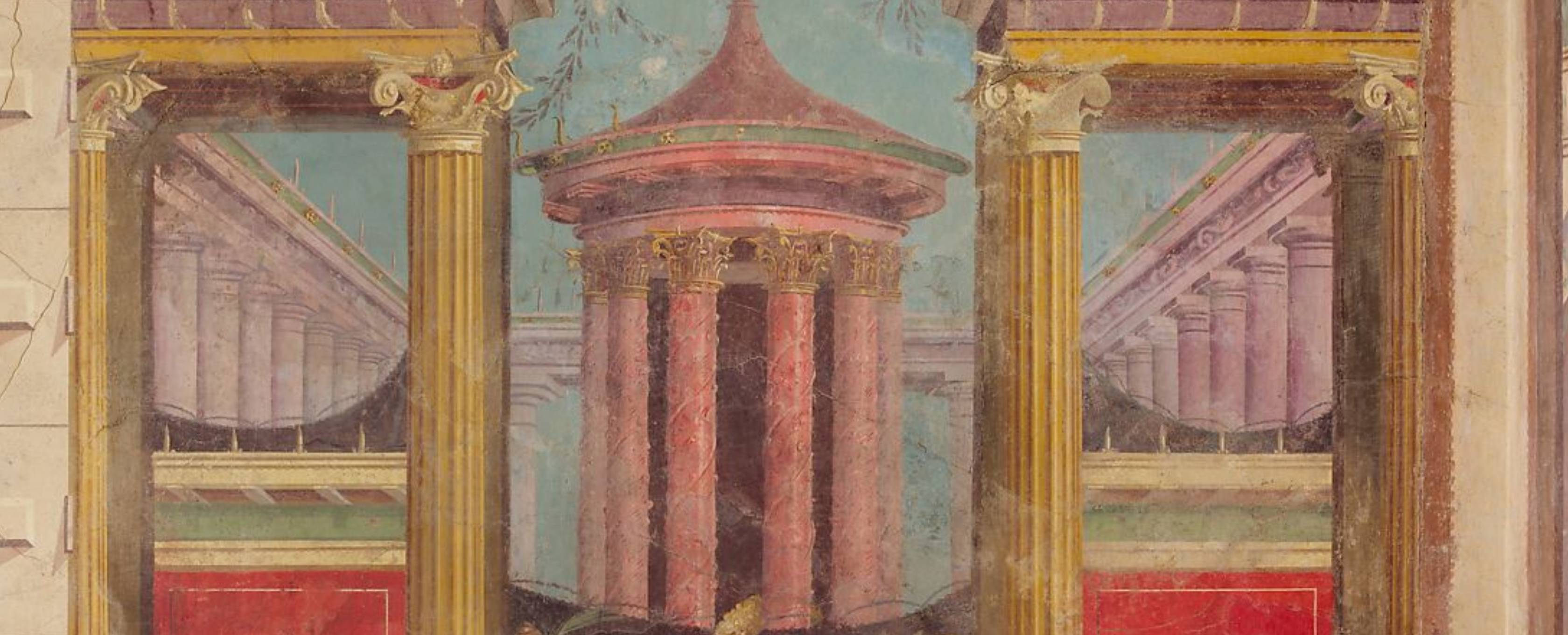 Detail of the Room M of the Villa of P. Fannius Synistor at Boscoreale, buried by the eruption of Vesuvius in A.D. 79. The paintings depict enclosed courtyards in which we glimpse the tops of statuary, rotundas, and pylons as well as vegetation. These precincts alternate with townscapes combining colonnaded buildings and projecting terraces.