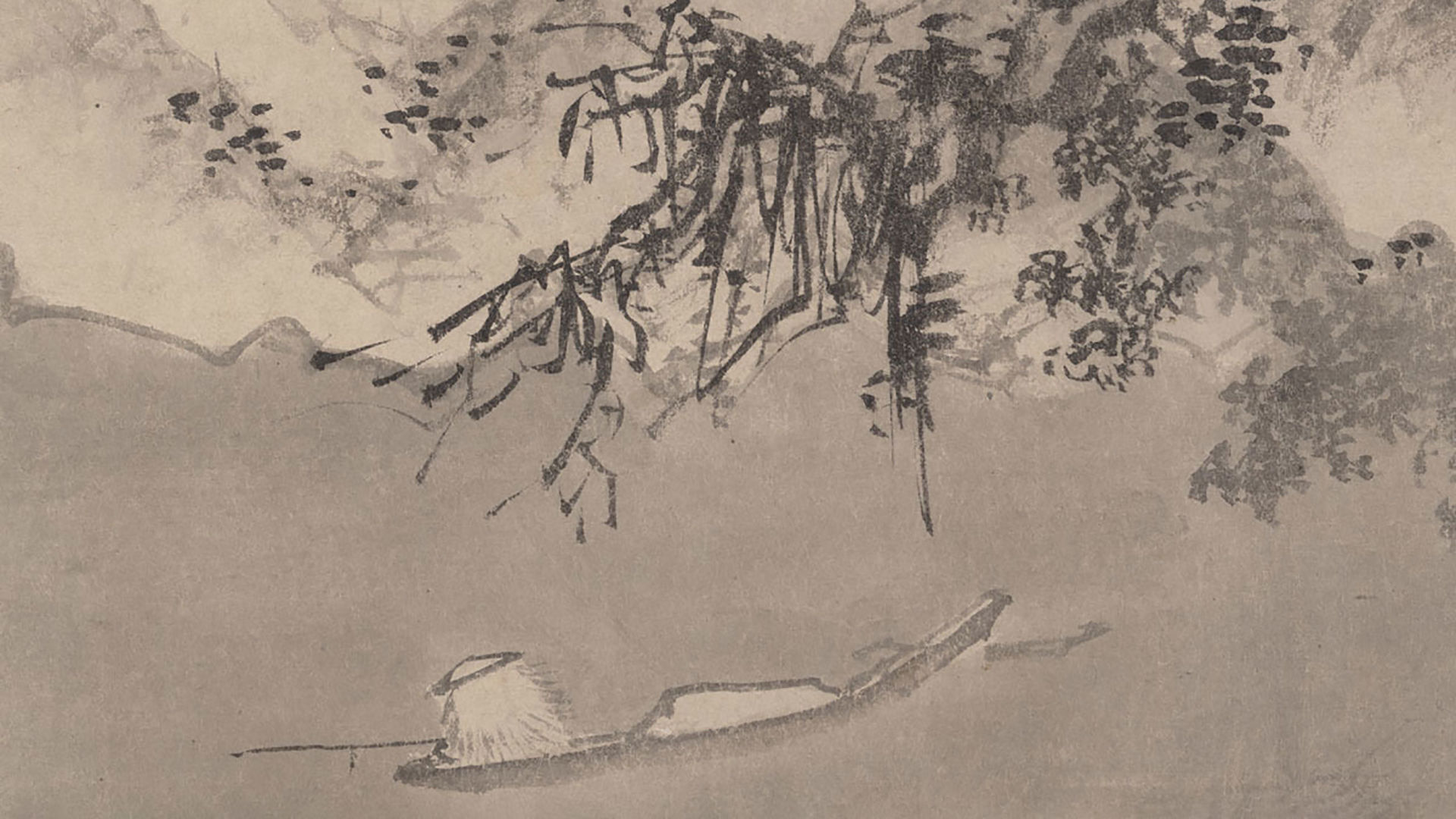 """Detail from """"Winter Landscape"""" by Jiang Song, with a figure fishing in a lake or pond"""