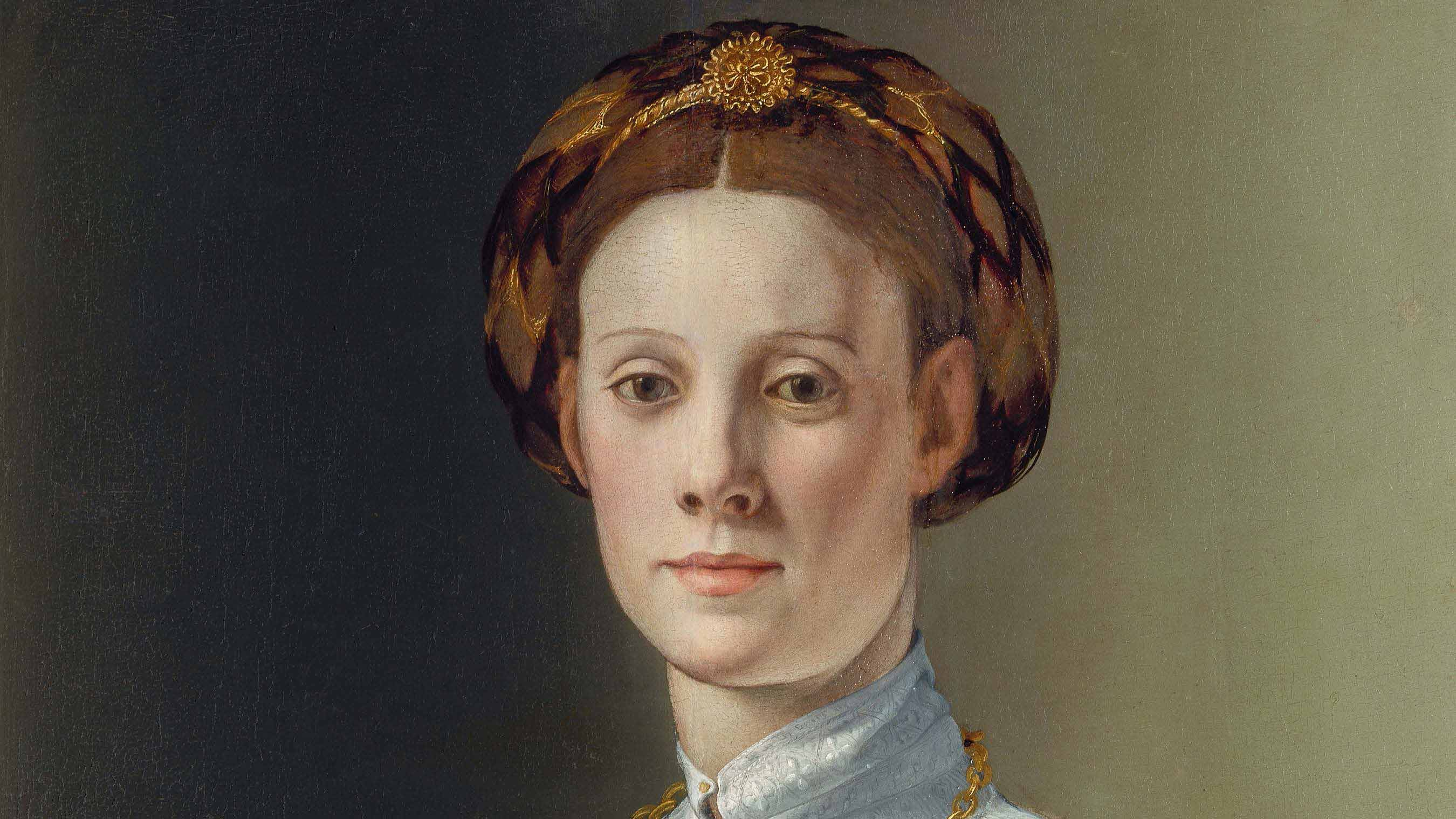 Detail from Portrait of a Woman with a Lapdog by Branzino. A painting of an ornately dressed woman with a small dog in her lap.