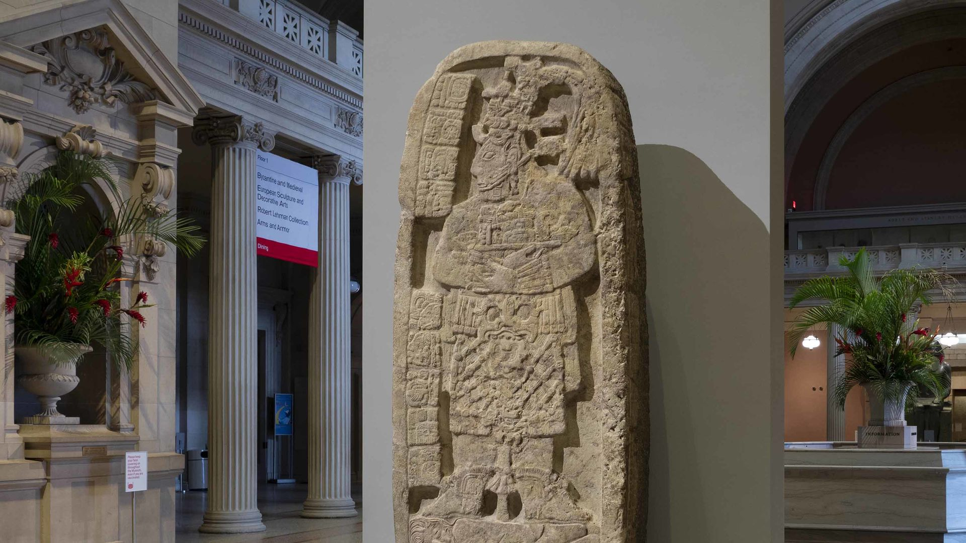 Portrait of a queen regent trampling a captive carved into a stelae, or large decorated stone slab, of Maya origin. The sculpture is installed in the Great Hall at the Museum.