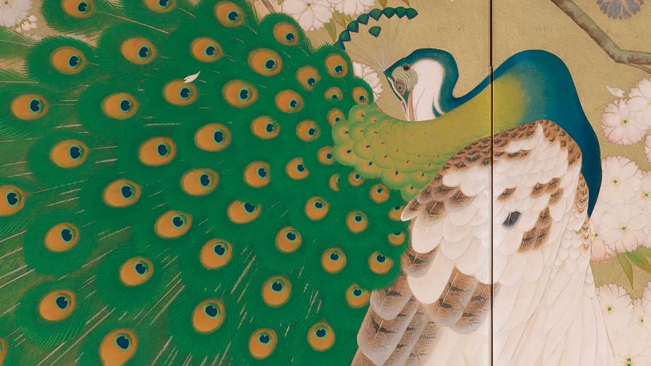 """Detail from Imazu Tatsuyuki's """"Peacock and Cherry Tree"""" painted in greens, white, beige, and blues on a folding screen"""