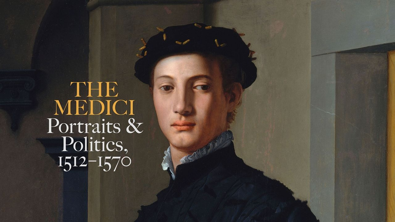 """A young man looking aloofly in the direction of the viewer poses within a bare and enigmatic architectural interior. Overlay text reads """"The Medici: Portraits and Politics, 1512-1570""""."""