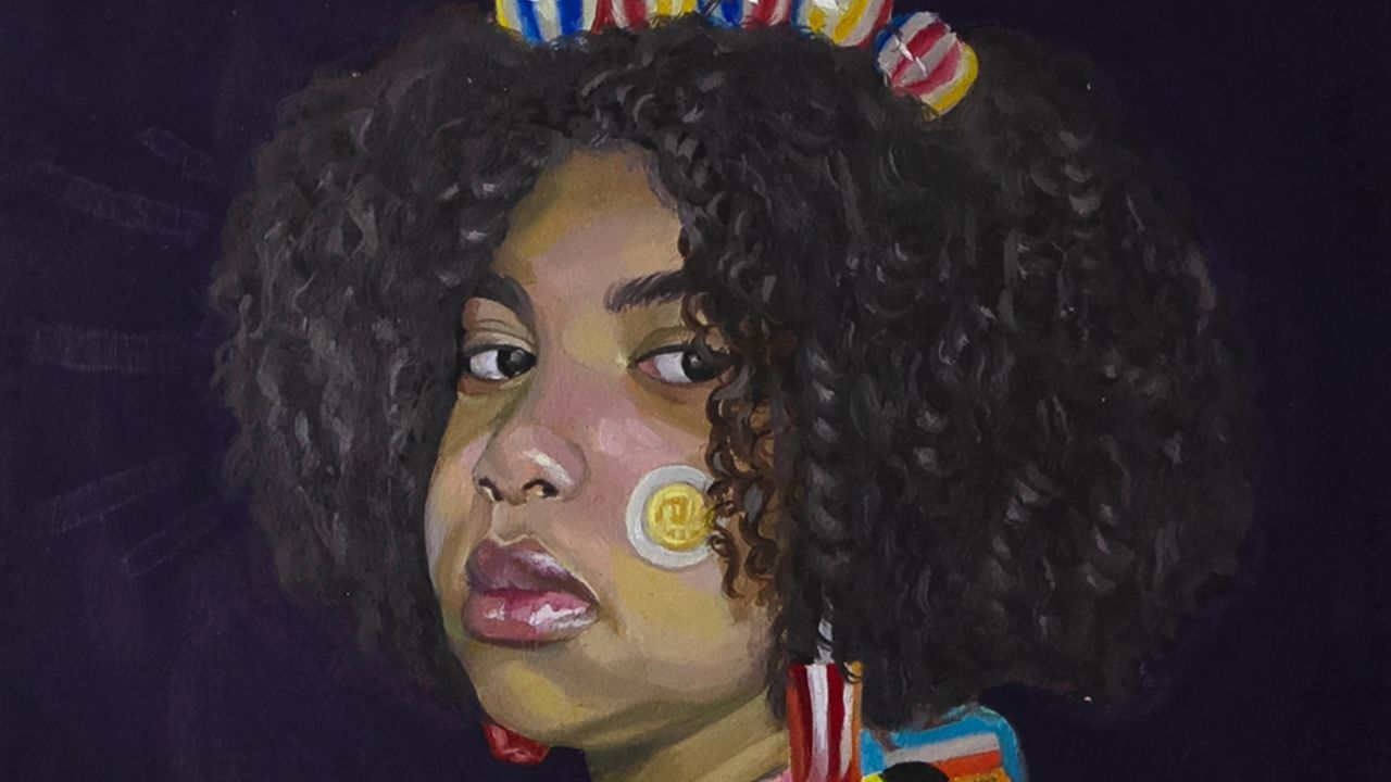 Detail of La Reina de Las Chucherías (The Queen of Candies) by Julissa Bruno, a vibrant portrait of a girl wearing candy jewelry and a junk food printed jacket