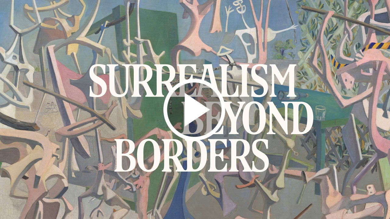 Various long elongated figures in pastel colors and a white title card that reads: Surrealism Beyond Borders
