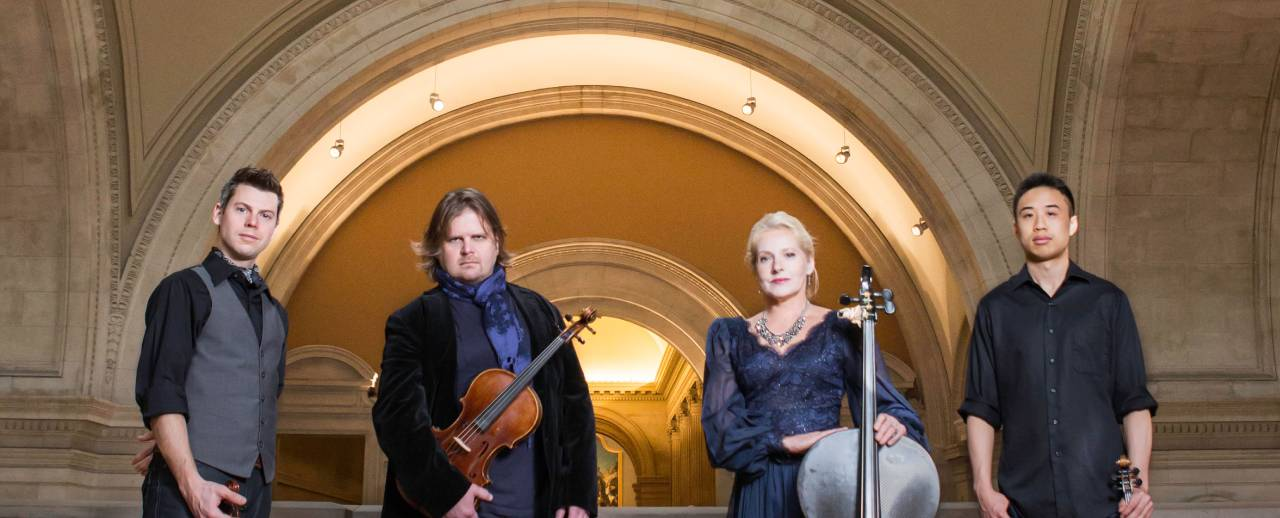 ETHEL is Ralph Farris (viola), Kip Jones (violin), Dorothy Lawson (cello), and Corin Lee (violin).